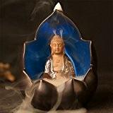 IPUIS Encensoir LED 7 Couleur Changer Bouddha Brûle-Encens Lumière Bodhisattva Glaçure Céramique Brûleur de Cône Encens Contre-foulement Encensoir
