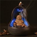 IPUIS Encensoir LED 7 Couleur Changer Maitreya Bouddha Brûle-Encens Lumière Maitreya Bodhisattva Glaçure Céramique Brûleur de Cône Encens Contre-foulement Encensoir