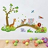 IVIDZ Lot de stickers muraux amovibles pour chambre d'enfant Motif animaux
