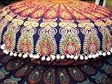Jaipur traditionnel coussin de sol rond, Mandala Couvre-lit décoratif taies d'oreiller 81,3cm Pouf Ottoman, extérieur Housse de coussin indien, grand ...