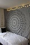 JaipurHandloom Tapisserie murale motif mandala Motif éléphant indien Noir/blanc 137x 213cm