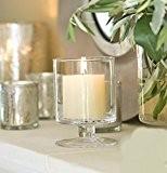 Jardin Mile® 2PC Grand support en verre pour bougie Hurricane Bougie Lanterne en verre terrasse Storm Vase Table ou fenêtre ...