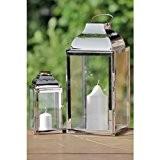 Jeu de 2 lanternes en acier inoxydable, métal et verre Argenté 20 x 36cm