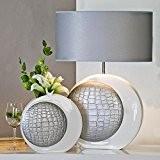 Joli vase bAHIA vase en céramique blanc/argenté hauteur 30 cm