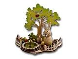 Jolie Scène avec bougeoir de Pâques, 2lapins, multicolores oeufs de Pâques, arbre et coccinelle, en bois, 16x 10x 13cm, Pâques ...