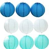 JTC 9pc Lanterne en Papier Lampion avec Fer Décoration de Maison/de Fête--3pc Bleu Foncé+3pc Blanc+3pc Bleu Clair (diamètre :10CM)