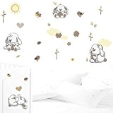 JUJU & COMPAGNIE Kit complet de stickers Muraux, pour chambre d'enfant - Lapinou Beige/Taupe Une deco Douce pour la chambre ...