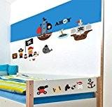 Juju & Compagnie - Stickers Muraux Enfant - Kit Complet de Decoration Murale JUJUBOX Petits pirates Dimensions Kit - 50x90 ...