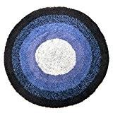 Just Contempo Tapis de bain rond 100% coton lavable Tissu-éponge, 100 % coton, Bleu (bleu marine/bleu clair/bleu foncé), Diamètre : ...