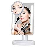KEDSUM Miroir de Table Lumineux Avec 1 Petit Miroir de Ventouse 5x Grossissement, Tactile, 180° Rotation, Carré, Miroir de Poche ...