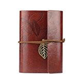 KEERADS Rétro feuille en cuir PU Couverture Loose Leaf Bandage Blank Notebook Journal Diary cadeau(rouge foncé)