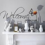 Kiki Monkey® PVC Papillons Noir Inscription Welcome to our Home Cadre Stickers Muraux–Vinyle mémoire Removable Sticker mural décoration pour salon