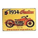 """KING DO WAY """"1934 Indian Motorcycles"""" Rétro Murale Plaque Décorative Enseigne Métal Décor Bar Café Garage Metal Sign-30cmX20cm"""