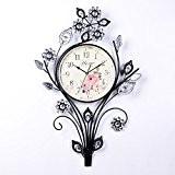 kinine Horloge de mur en fer forgé créative européenne horloge simple salon maison mur horloge rétro unique décoratifs en fer ...