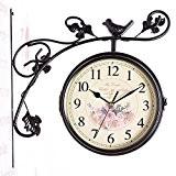 kinine Montres de mode européenne créative double face en fer forgé mur horloge le mobilier de salon artisanat muet