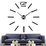 Kolylong Horloge Murale Design Luxe DIY Horloge De Mur 3D DéCor Du Foyer Cloche Refroidir Miroir Autocollants Montre DéCoration Horloge ...