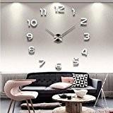 Kolylong Horloge Murale Design Mirrored Acrylique DIY Auto-AdhéSif Mural IntéRieur Creative DéCoration Horloge (Pièces d'argent)