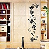 Kolylong Stickers Muraux Flower Vine Chambre RéFrigéRateur Armoire Decal Sticker Mural Home Decor (Noir--105x30cm)