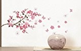 Kolylong Wall Stickers Home Decor Living Room Plum Blossom Flowers Papillon Wall Decal Accueil Sticker 40 * 100cm