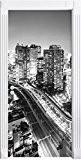 L'architecture moderne au centre-ville de Tokyo Art B & Wcomme Mural, Format: 200x90cm, cadre de porte, porte autocollants, décoration de ...