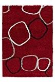 Lalee 347248025 tapis shaggy au design tendance, rouge, 120 x 170 cm