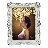 Landove Cadre Photo Fleur Blanc Vintage Retro 5x7 inch pour Décoration de Mariage