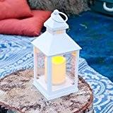 Lanterne Blanche pour Jardin avec Bougie LED à Piles Incrustée par Lights4fun