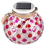 Lanterne en Carre de Verre, Globe Mosaique avec Led Solaire, 2 Mode Luminosite pour Ambiance et Decoration