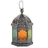 Lanterne Faiza 25cm Oriental Indiens Photophore Verre Lanterne multicolores Lanterne de jardin, Verre, multicolore, 25 cm