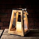 Lanterne Trapèze en Bois avec Bougie LED à Piles et Anse en Corde, 30cm par Lights4fun