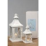 Lanternes Set de 2 métal/verre blanc style shabby chic : env. 40 x 17 x 17 cm et 27 x ...
