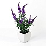 Lavande artificielle en pot de céramique, violet, 35 cm - Fleur en tissu déco / Bouquet de lavande - artplants