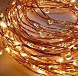 LED-Lichtshop 1 pièce LED guirlande lumineuse sur fil de cuivre en intérieur ou en extérieur, blanche chaude, batterie, avec interrupteur ...