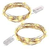 lederTEK 2 Lots 2M Guirlande Lumineuse à Piles Fil Cuivre LED Flexible Décoration Lumière avec 20 LED Idéal pour la ...