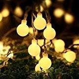 lederTEK guirlande lumineuse à pile avec télécommande en forme de boule crème 5.3M 50 LED 8 modes guirlande led idéal ...