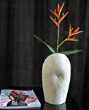 Leewadee Cortina Vase de table en céramique Blanc 30 cm