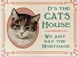 Les chats HOUSE Sign Co Panneau mural en Métal-Email - 200 mm x 150 mm