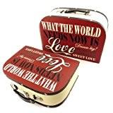 Les Trésors De Lily [L1953] - Set de 2 valisettes Bois 'Love Sweet Love' rouge beige