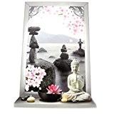 """Les Trésors De Lily [P0363] - Sticker trompe l'oeil """"Jardin Zen"""" Bouddha - 50x70 cm"""