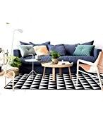 LLD DITAN Tapis Moderne Et Simple Tapis Géométrique Noir Et Blanc Tapis Rectangulaire Chambre À Coucher Canapé Lit Salon Table ...