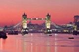 Londres Papier Peint Photo/Poster Autocollant - Tower Bridge Au Crépuscule Rouge (180 x 120 cm)