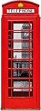 Londres Sticker Adhésif Mural Autocollant - Cabine Téléphonique Rouge Avec Big Ben Et Tamise, Collage (215 x 81 cm)