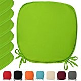 Lot de 10 galettes de chaises - coussins - Coloré - unie -38x38x1,5 cm - Vert pomme