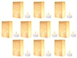 Lot de 10 sac à bougie Blanc + 10 Bougies à LED scintillante style 'chauffe-plat' incluses lueur de sol blanc ...