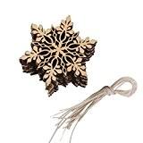 Lot de 10pcs Suspension Flocon de Neige en Bois Embellissement Décoration Suspendue pour Sapin de Noël #3
