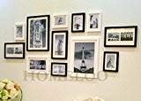Lot de 12 cadres à photos muraux modernes en bois (Noir & Blanc)