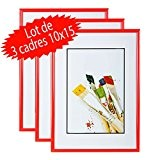 Lot de 3 cadres photo 10x15 cm (Rouge)