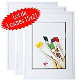 Lot de 3 cadres photo 15x21 cm (Blanc)