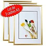 Lot de 3 cadres photo A3 (Gold)
