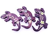lot de 3 Magnet Aimant Gecko Margouillat Bois Frigo Artisanal Animal wooden Salamandre